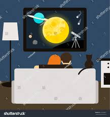 couple cat watching scifi movie on stock vector 319393001