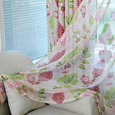 Leaf Design Curtains Country Colorful Leaf And Floral Sheer Curtains Home