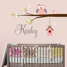 Custom Nursery Wall Decals Aliexpress Buy Personalized Name Owl Wall Decal With Birds