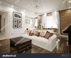 brick wall apartment modern classic traditional white living room stock illustration