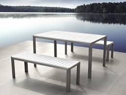 White Patio Dining Table by Aluminum Dining Set With Benches White Nardo