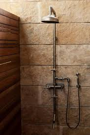Industrial Bathroom Fixtures A Rugged Exposed Thermostatic Shower Set Lake Flato Architects