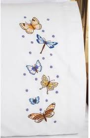 janlynn tulip garden pillowcase pair sted embroidery kit