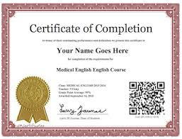 examples of certificates of completion medical english online course