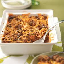 spaghetti beef casserole recipe taste of home