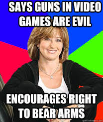 Right To Bear Arms Meme - says guns in video games are evil encourages right to bear arms