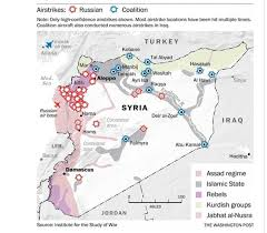 Where Is Syria On The Map by Mapped Russian Vs U S Airstrikes In Syria The Washington Post