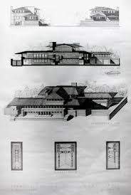 section u0026 side view drawing robbie house frank lloyd wright