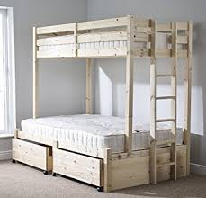 Pine Triple Sleeper Bunk Bed With Storage Drawer Ft  Double - Three sleeper bunk bed