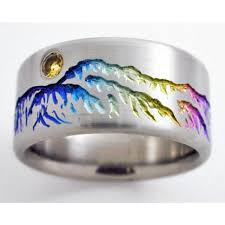 Titanium Wedding Rings by Monarch 2 Titanium Ring With Mountains Titanium Wedding Rings