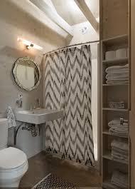 bathroom ideas with shower curtains bathroom curved shower curtain rod with chevron curtain plus sink