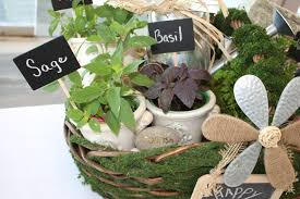 herb filled moss basket diy gift idea