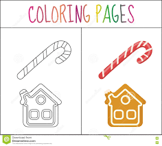 coloring book page christmas candy cane and gingerbread house