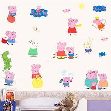 shop cartoon diy removable peppa pig wall stickers kids