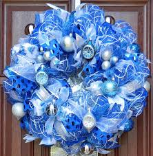 white deco mesh blue silver white christmas wreath blue and white deco mesh