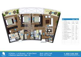 Floor Plans For Apartments 3 Bedroom by Floor Plan Of Al Rahba Al Muneera Al Raha Beach