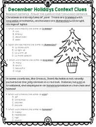 context clues worksheets christmas hanukkah test prep by deb hanson