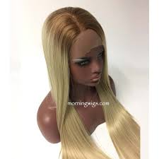 black at root of hair dark root blond straight lace front human hair wigs for black women