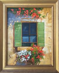 painting of rustic window italian window with flowers
