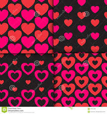 set of 4 colorful seamless patterns with hearts romantic patterns
