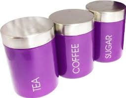 purple canisters for the kitchen set of 3 purple tea coffee sugar storage canisters kitchen