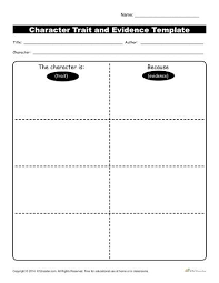 worksheets on character traits worksheets
