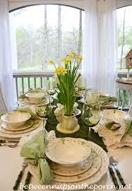 Easter Table Setting Easter Table Setting With Daffodil And Moss Centerpiece