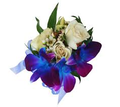 White Rose Wrist Corsage Blue Orchid And White Rose Wrist Corsage 27 00 Send Flowers