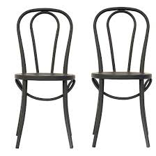Black Metal Bistro Chairs Emery Metal Bistro Chair Matte Black Set Of 2 Threshold