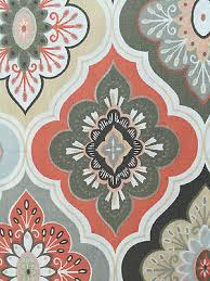 Coral And Grey Shower Curtain Peri Lillian Tile Medallion Peach Coral Grey Tan Fabric Shower