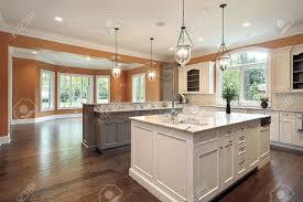 granite island kitchen kitchen in luxury home with granite island stock photo picture