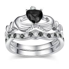 claddagh engagement ring jeulia heart cut created black diamond claddagh ring set jeulia