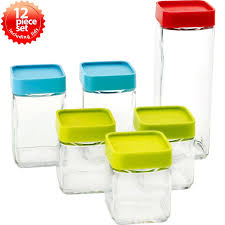 glasslock block square 6 piece kitchen canister set u0026 reviews