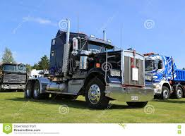 kenworth tractor trailer dark blue kenworth w900 truck tractor editorial stock image
