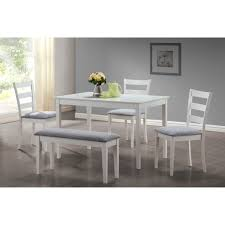 monarch dining set 5pcs set white bench and 3 side chairs