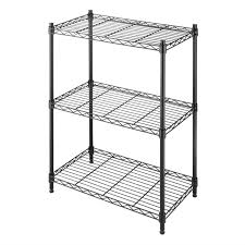 Metal Wire Storage Shelves Small 3 Shelf Storage Rack Shelving Unit In Black Metal With