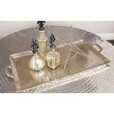 Aluminum Coffee Table Silver Contemporary Wide Hammered Aluminum Coffee Table 23913