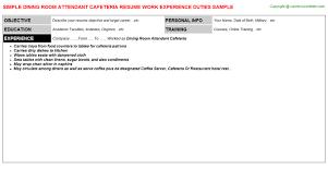 Room Attendant Job Description For Resume by Dining Room Attendant Cafeteria Job Title Docs