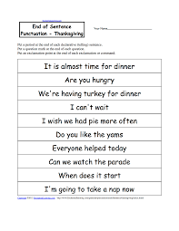 end of sentence punctuation thanksgiving ela