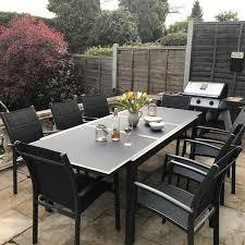 8 seat patio table garden table set florence grey 8 person aluminium glass