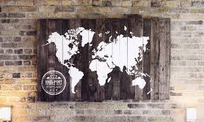 World Map Wood Wall Art by Rustic Reclaimed Wood Sign World Map Salter Creek Designs