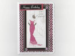 art deco birthday card lady in pink suzee krafts handmade card