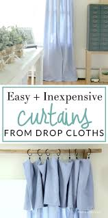 Diy Cheap Curtains Diy No Sew Drop Cloth Curtains And A Cheap Curtain Rod Hack