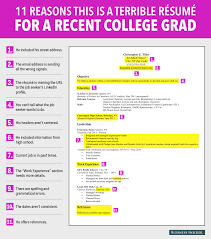 Best Resume Fonts For Business by Terrible Resume For A Recent College Grad Business Insider
