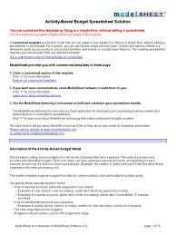 Formulas For Spreadsheets Activity Based Budget Spreadsheet Template Xls Spreadsheet Budget