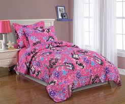girls pink and purple bedding twin bedding for teenage glamorous bedroom design