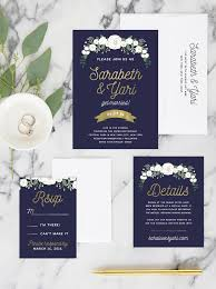 navy and gold wedding invitations miss design berry