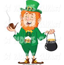 vector clip art of a st paddys day leprechaun smoking a pipe and