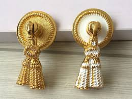Shabby Chic Hardware by Drop Dresser Knob Drawer Pulls Handles Knobs White Gold Tassel