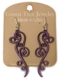 tree jewelry ornate scroll design purple wood laser cut earrings 1261